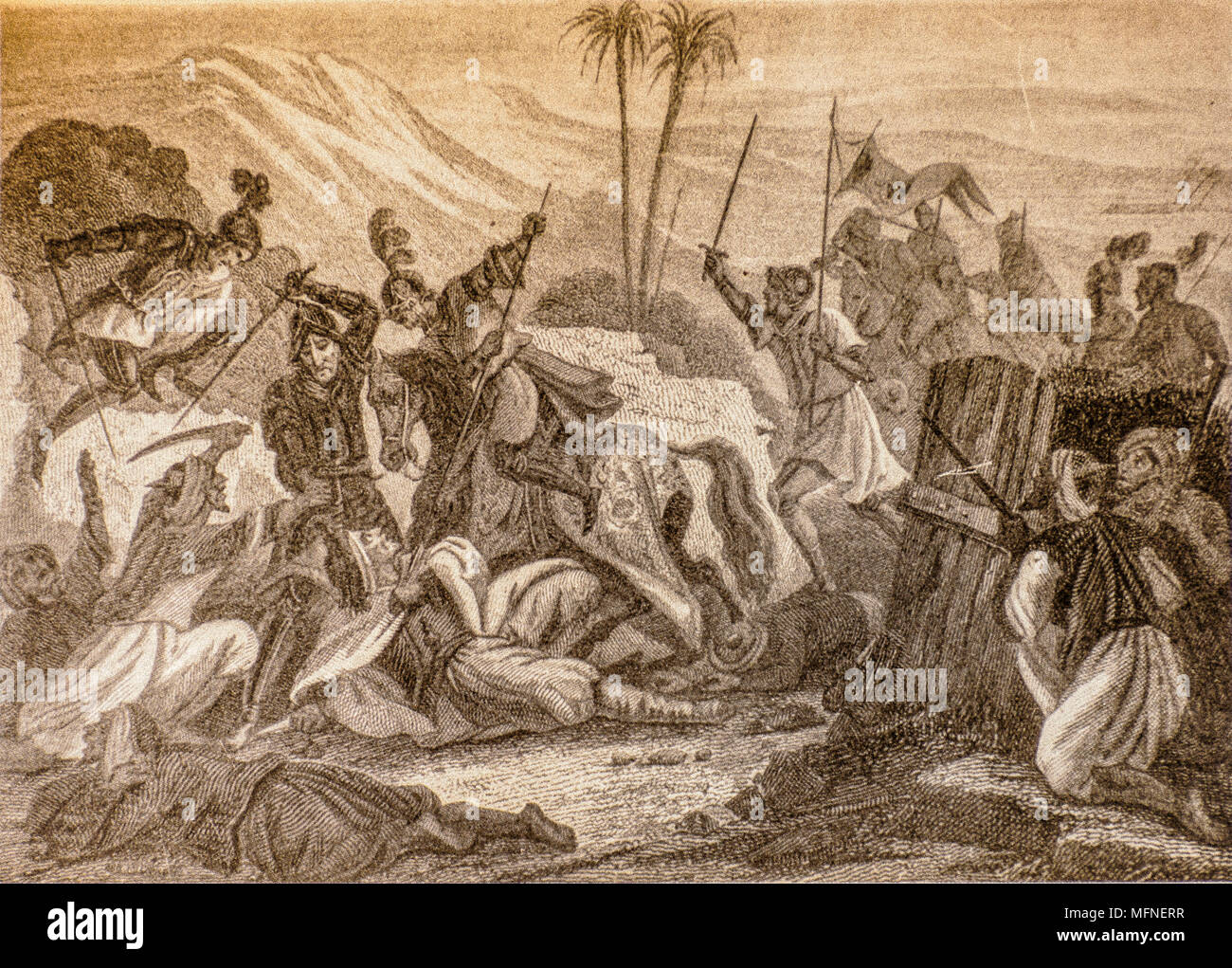 Clashes of arms between Barbareschi pirates and Spanish troops - Stock Image