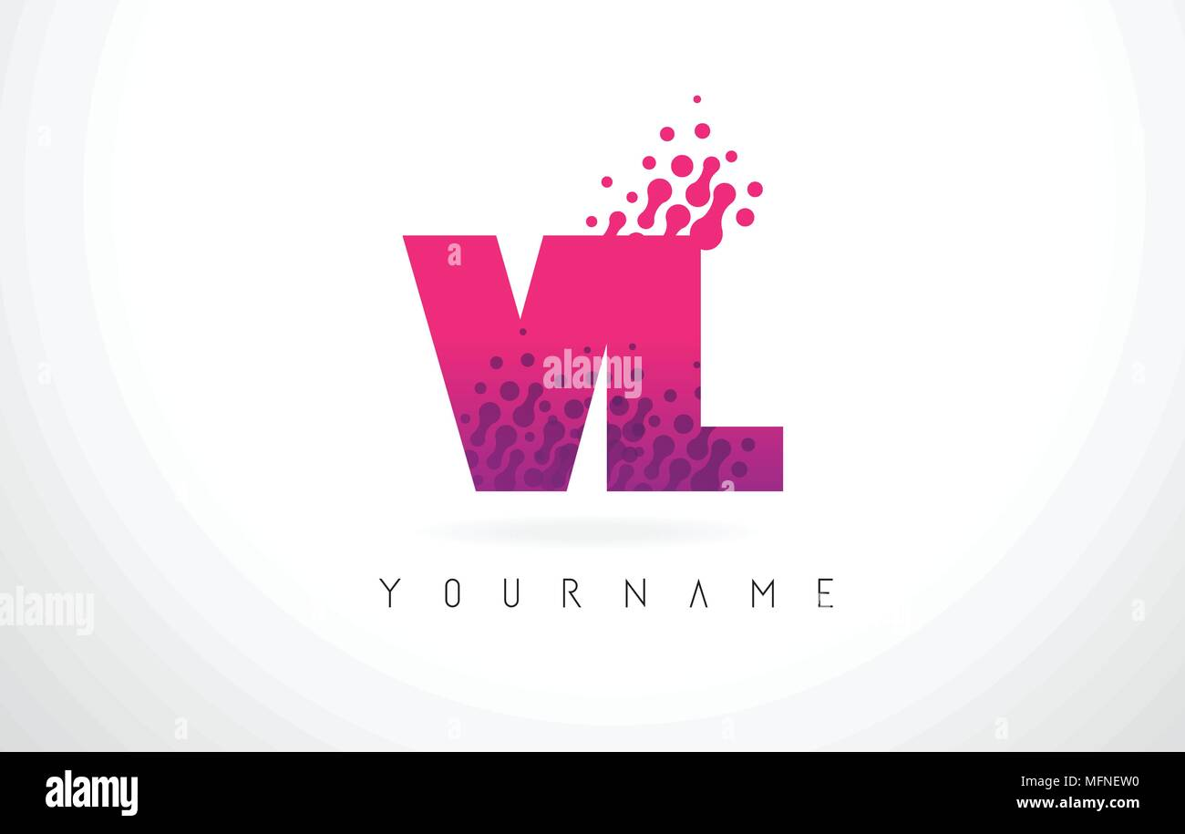 VL V L Letter Logo with Pink Letters and Purple Color Particles Dots ...