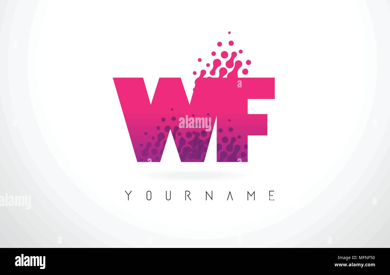 WF W F Letter Logo with Pink Letters and Purple Color Particles Dots ...