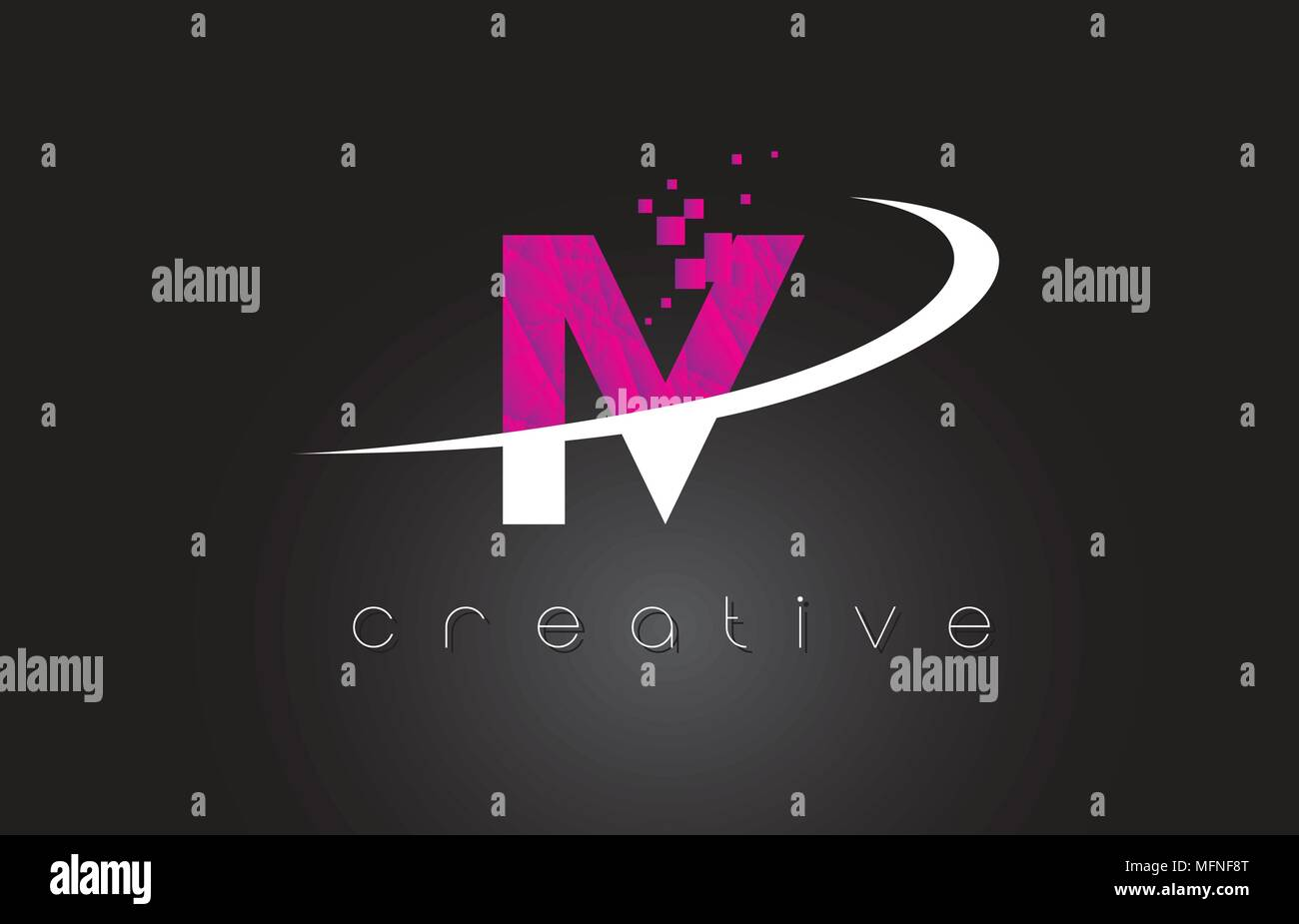 IV I V Creative Letters Design. White Pink Letter Vector Illustration. - Stock Vector