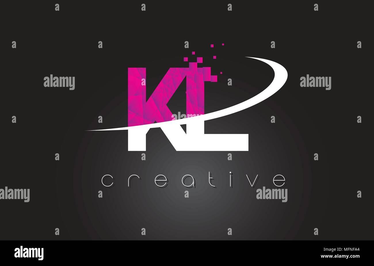 KL K L Creative Letters Design. White Pink Letter Vector Illustration. - Stock Vector