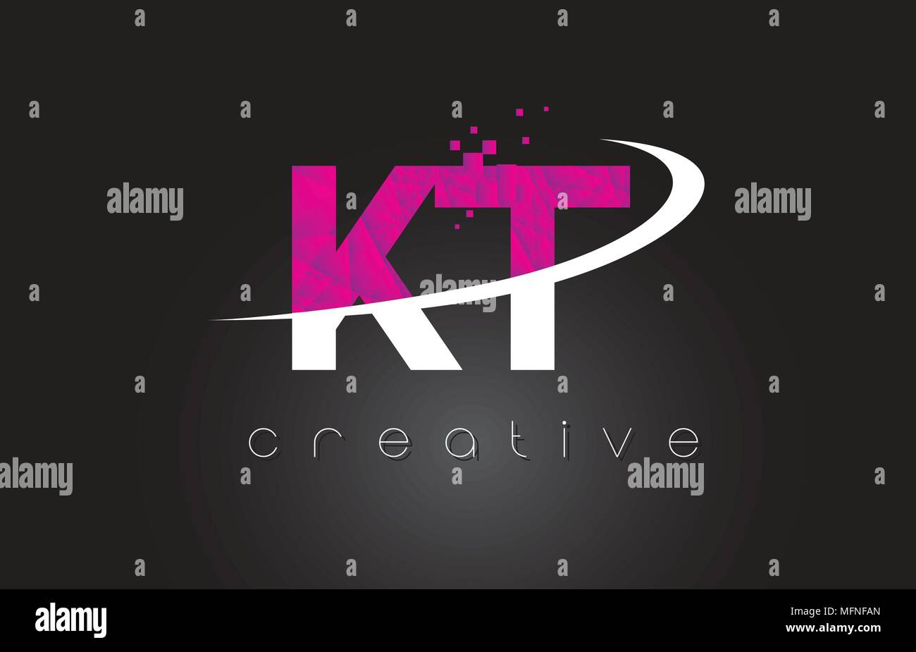Kt K T Creative Letters Design White Pink Letter Vector