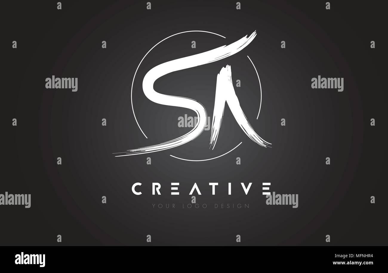 SA Brush Letter Logo Design. Artistic Handwritten Brush Letters Logo Concept Vector. - Stock Vector