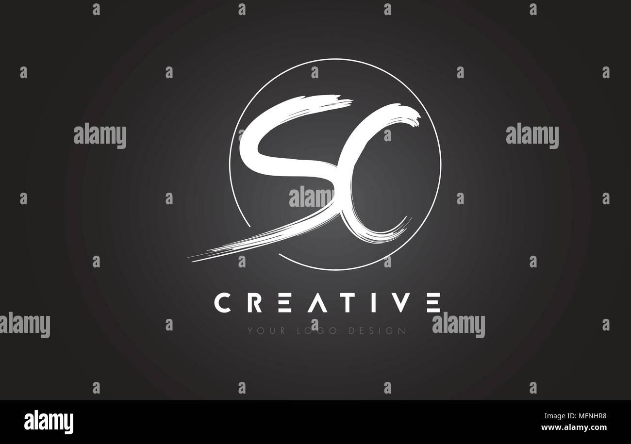 Sc Brush Letter Logo Design Artistic Handwritten Brush