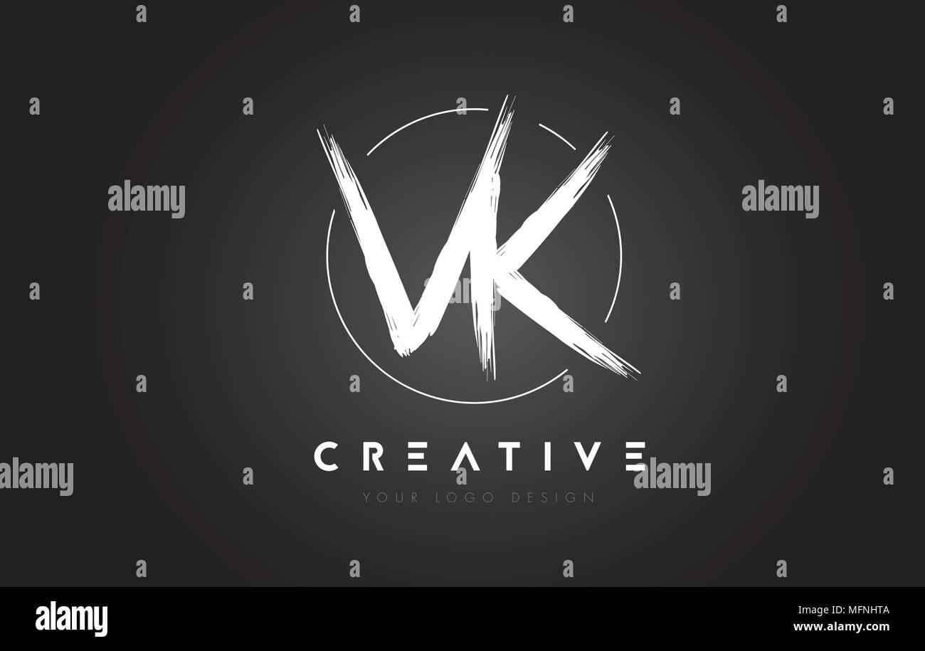 VK Brush Letter Logo Design  Artistic Handwritten Brush