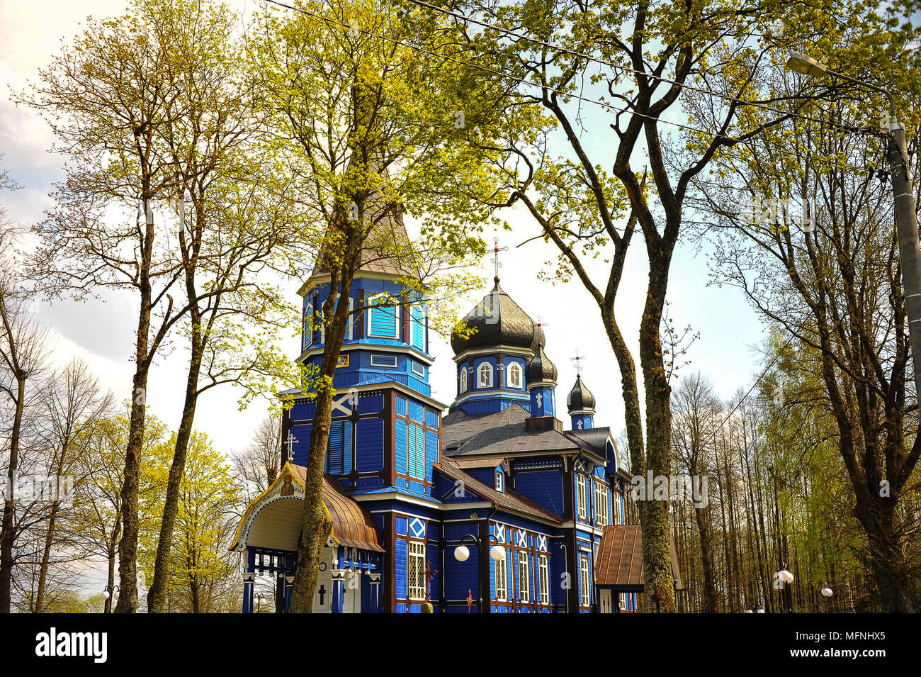 Protection of the Holy Virgin Church, Puchly, Poland. Beautiful, blue eastern orthodox church nestles in the forest in springtime - Stock Image