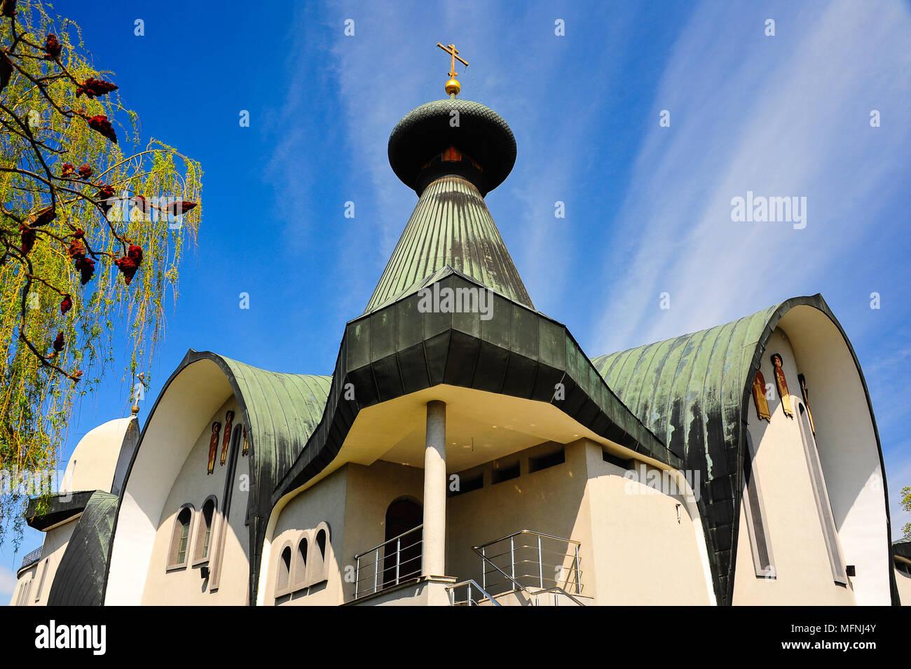 Blue sky and green roof, Holy Trinity Orthodox Church, Hajnowka in Poland - Stock Image