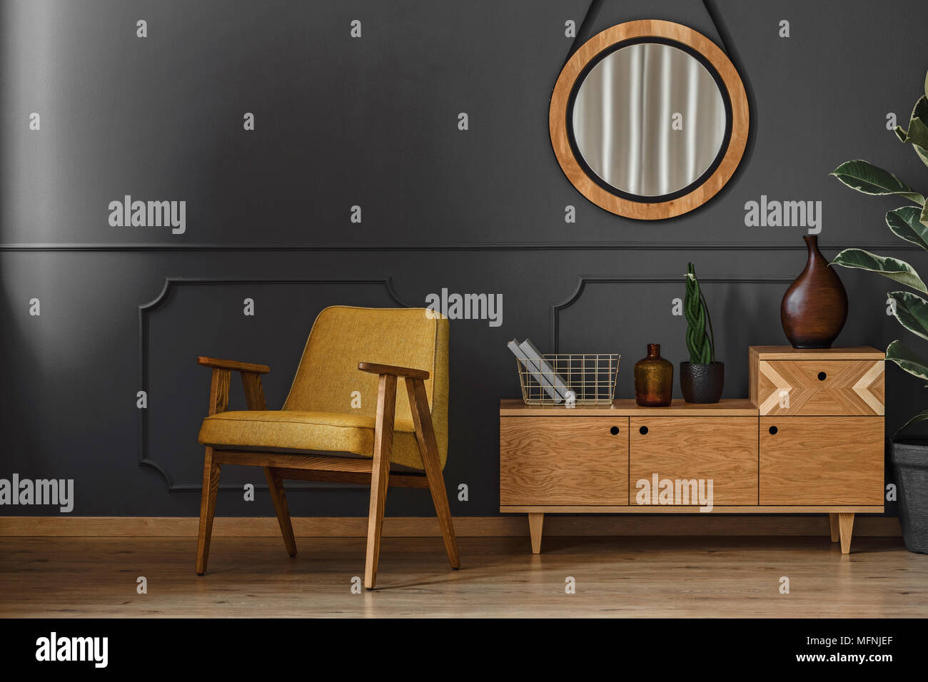Living Room Interior With Round Mirror Wooden Cupboard And