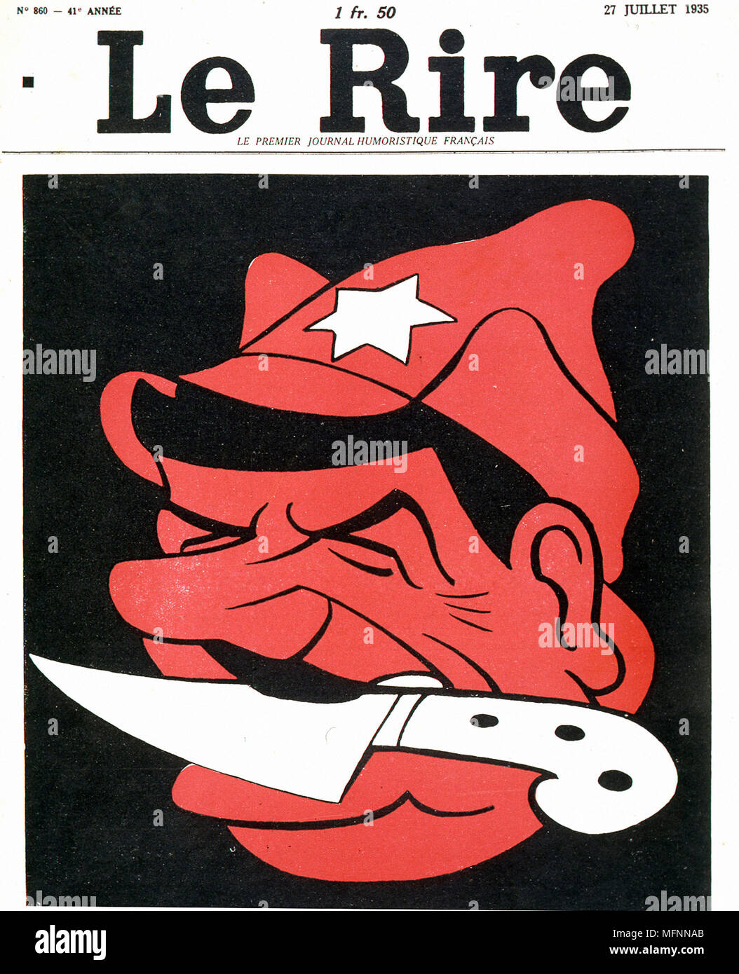 The man with a knife between his teeth'. Anti-Stalin cartoon from 'Le Rire',   Paris, 27 July 1935. Stock Photo