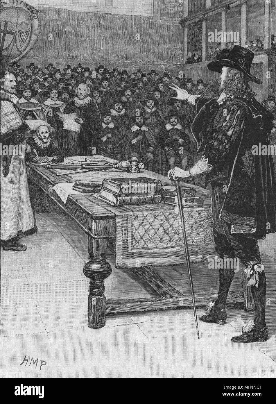 Trial of Charles I, January 1649. Charles ! (1600-1649) king of Great Britain and Ireland from 1625 on trial by Parliament in Westminster Hall, London. Charles, as an absolute monarch, did not accept the authority of the court and his refusal to plead was construed as a guilty plea. - Stock Image