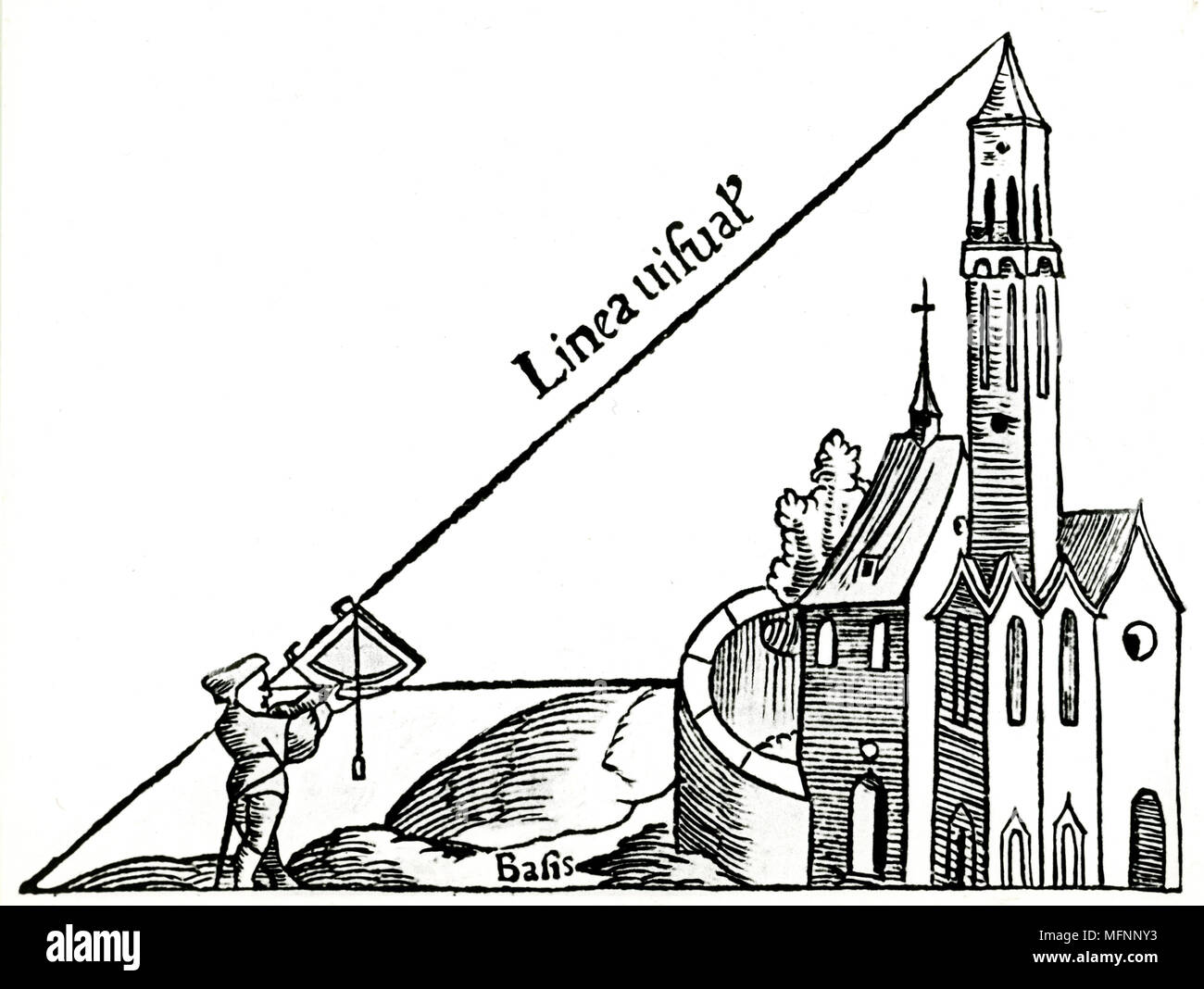 Using a quadrant with a plumb bob to calculate the height of a tower by triangulation. From Sebastian Munster 'Rudimenta Mathematica', Basle 1551. Woodcut Stock Photo