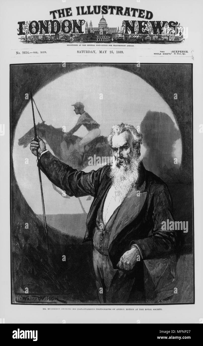 Eadwaerd Muybridge (1830-1904) English-born American inventor and photographer, giving a talk to the Royal Society, London,  England, on his photographic studies of animal motion. May 1889. Stock Photo
