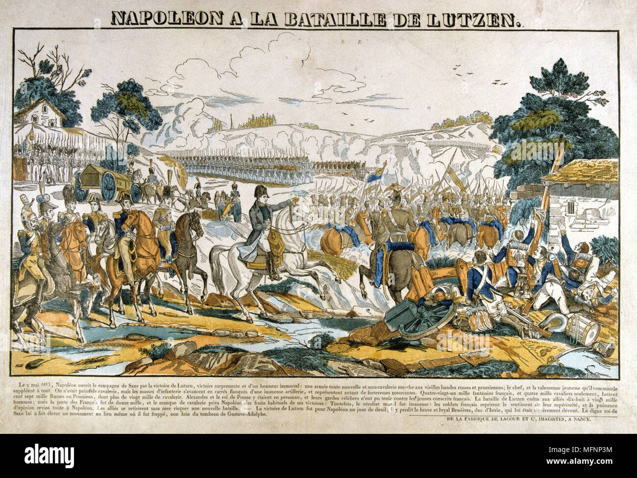 Napoleon at the Battle of Lutzen, 2 May 1813. Napoleon forced the Prussian and Russian forces  to retreat but, with an inexperienced army and a lack of cavalry, he was unable to pursue the enemy. Popular French hand-coloured woodcut. - Stock Image