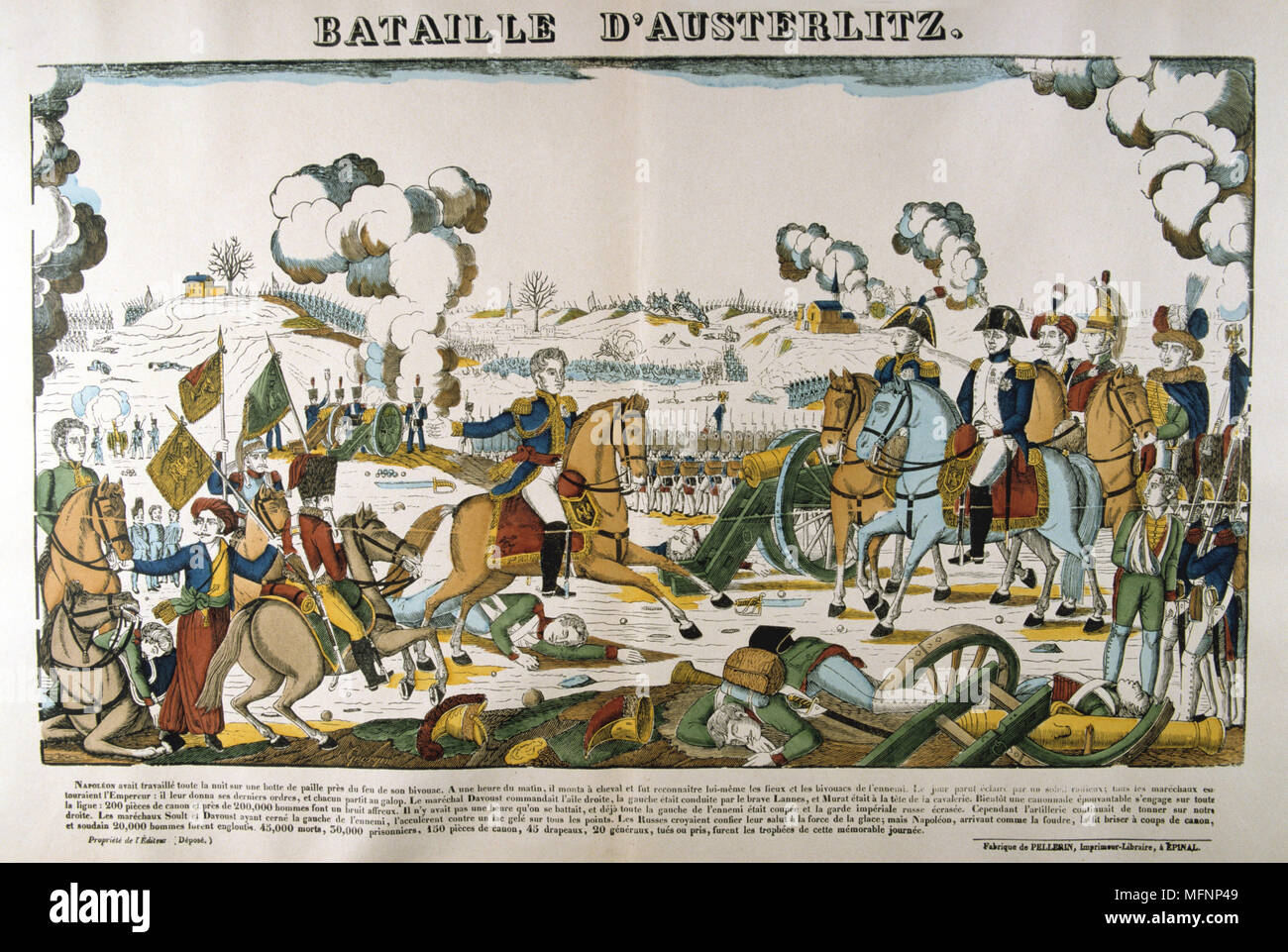 Napoleon at the Battle of Austerlitz  (Bitva u Slavkova) also known as the Battle of the Three Emperors, l December 1805.  Decisive French victory over the Russian and Austrian empires, one of Napoleon's greatest victories. Popular French hand-coloured woodcut. - Stock Image