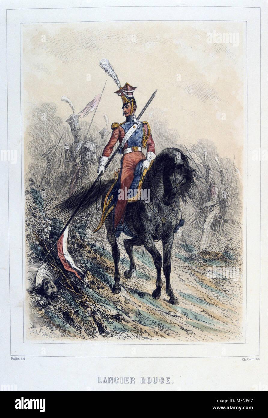 Red Lancer.    From 'Napoleon 1er et la Garde Imperiale' by Eugene Fieffe, Paris, 1858. - Stock Image