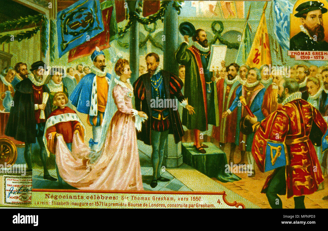 Elizabeth I inaugurating the first Royal Exchange, London, 1571. The Exchange was built by Thomas Gresham (1519-1579).  Chromolithograph trade card. - Stock Image