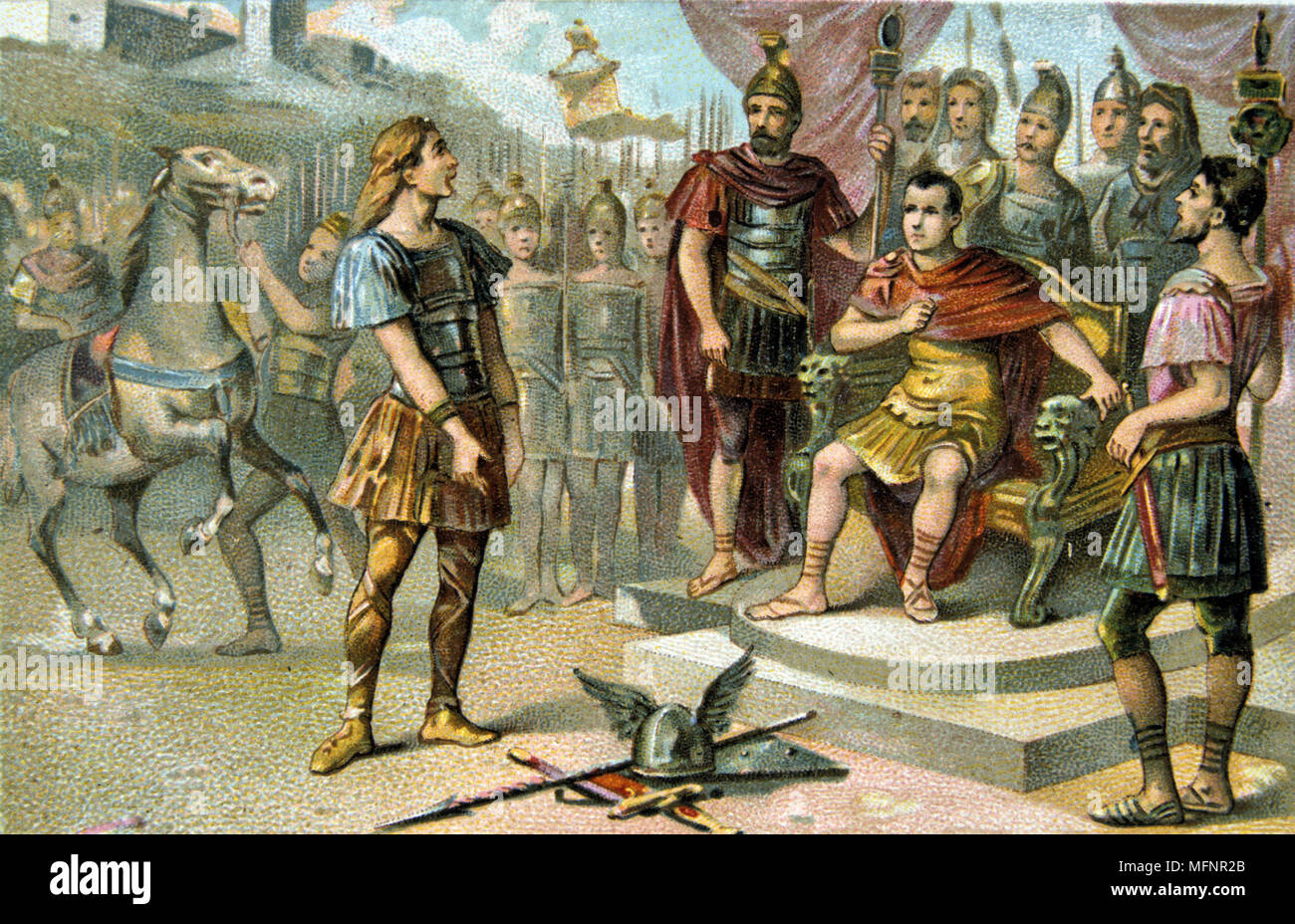 Vercingetorix, Gaulish leader who raised a revolt against Julius Caesar in 52 BC. Finally defeated and put to death in 46 BC.  Vercingetorix submitting to Caesar. France Roman French Nineteenth century Trade Card Chromolithograph - Stock Image