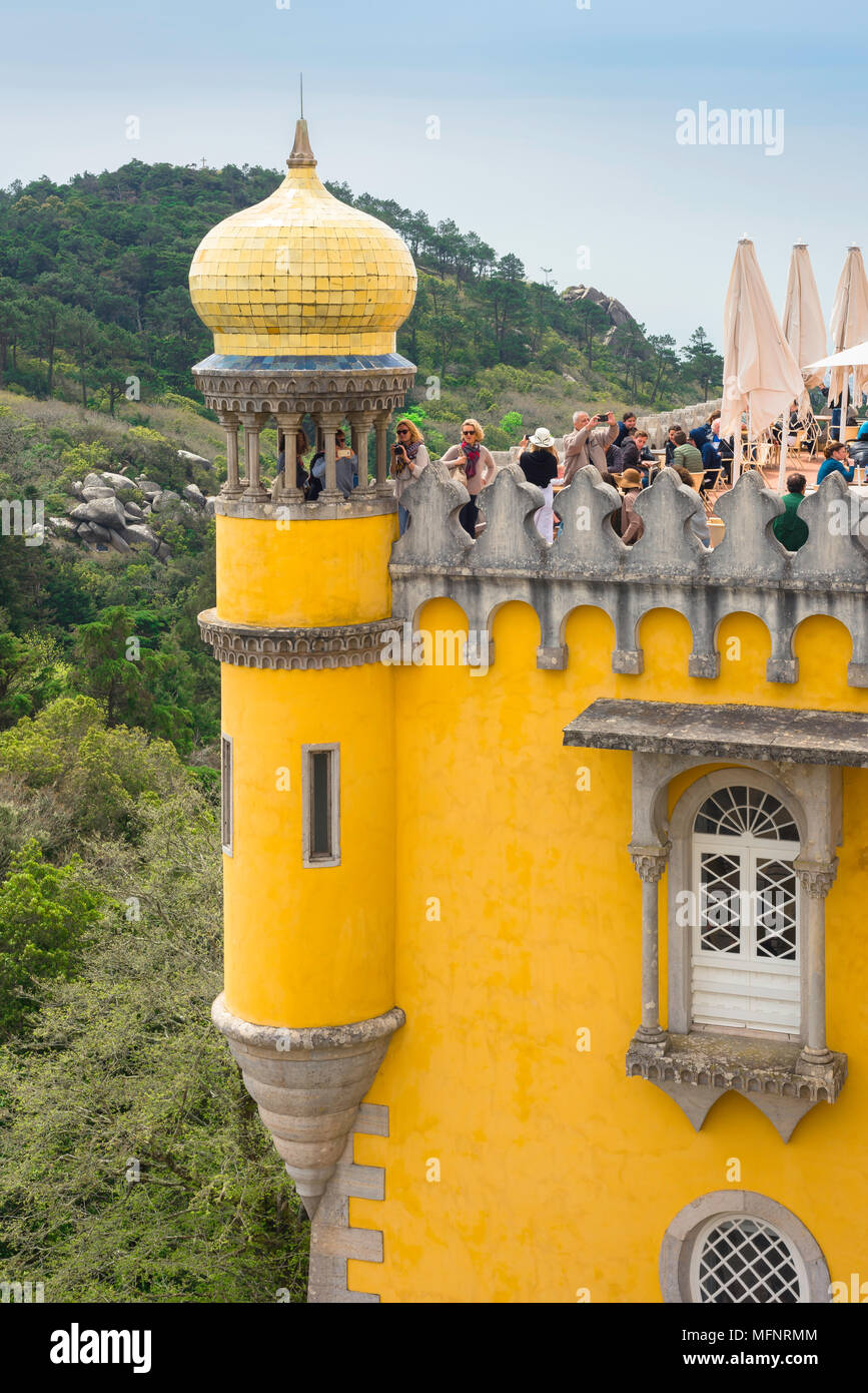 Sintra Portugal, view of an onion-domed turret sited on the roof of the colorful Palacio da Pena in Sintra, Portugal. Stock Photo
