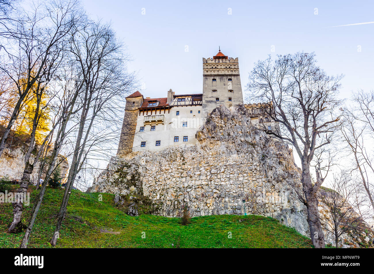 Bran Castle (Dracula Castle) on the top of the rock, Transylvania, Bran, Romania - Stock Image