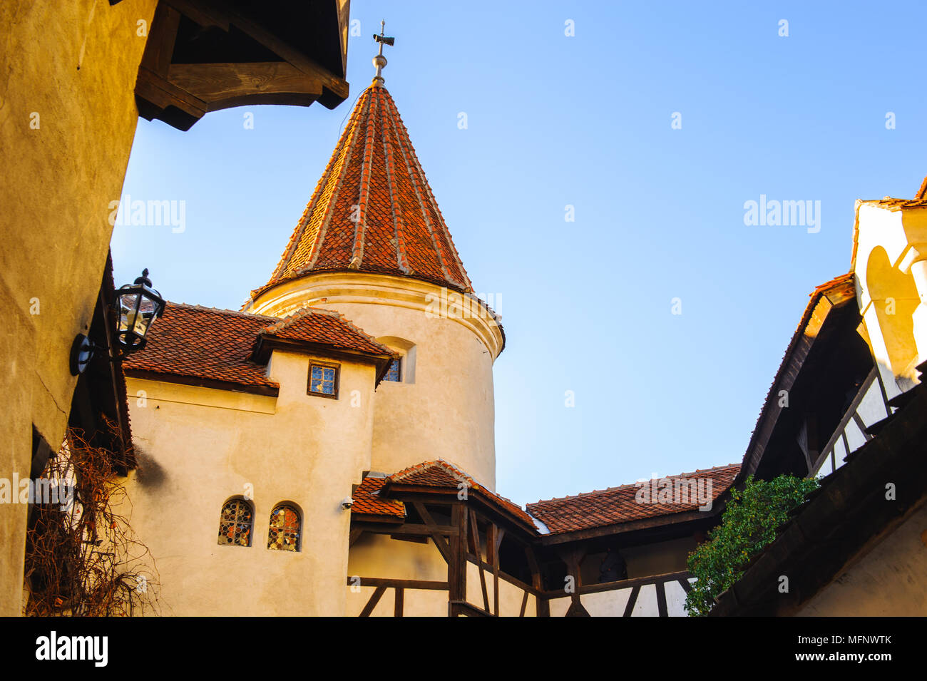 Tower of the Bran Castle, Transylvania, Romania - Stock Image