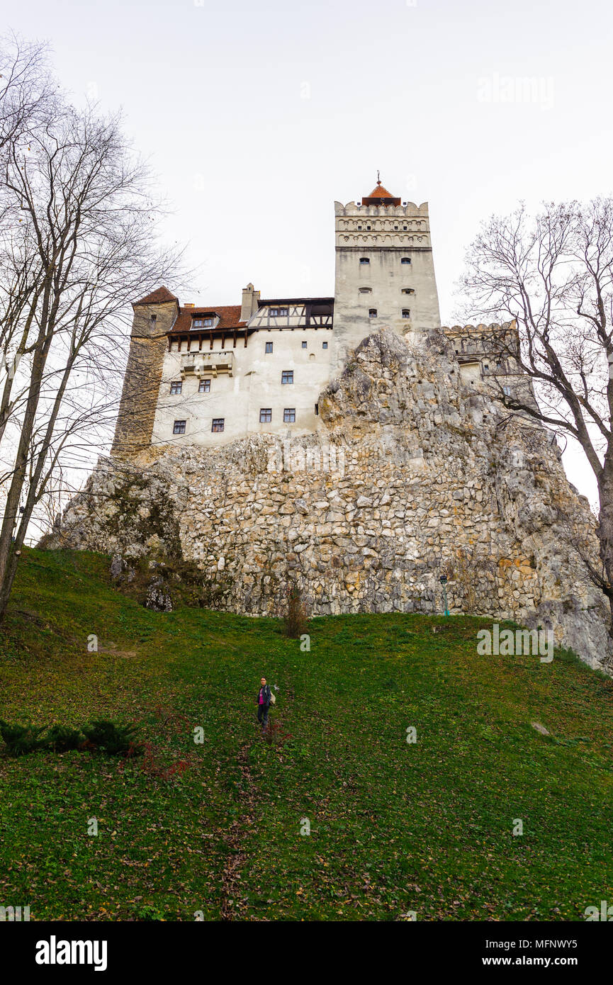Dracula Castle in Bran, Romania. It is marketed as the home of the Vampire Dracula, the Bram Stoker's novel character. - Stock Image