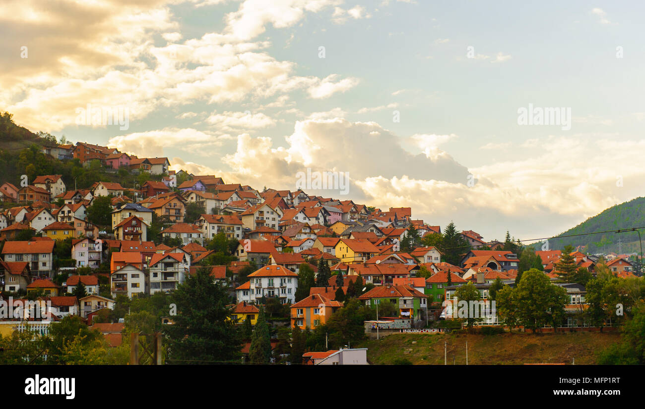 Uzice, a city in western Serbia, located at the banks of the Detinja river. It is the administrative center of the Zlatibor District. - Stock Image