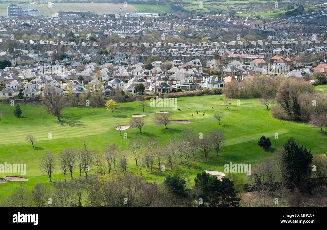 Looking down on Golf Course and suburban housing at  Prestonfield in Edinburgh, Scotland, UK. - Stock Image