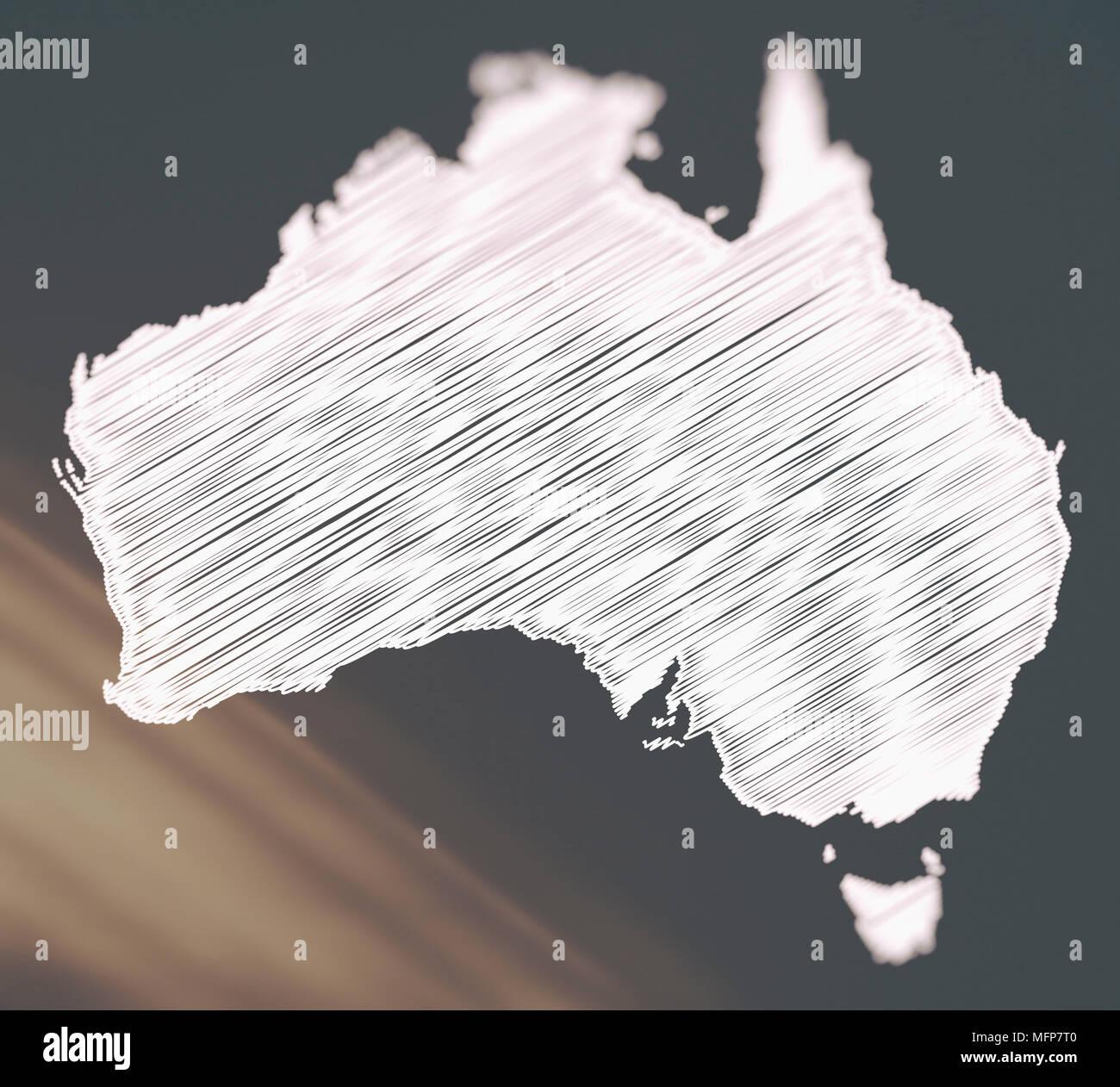 Creative blurred scribble map illustration of Australia - Stock Image