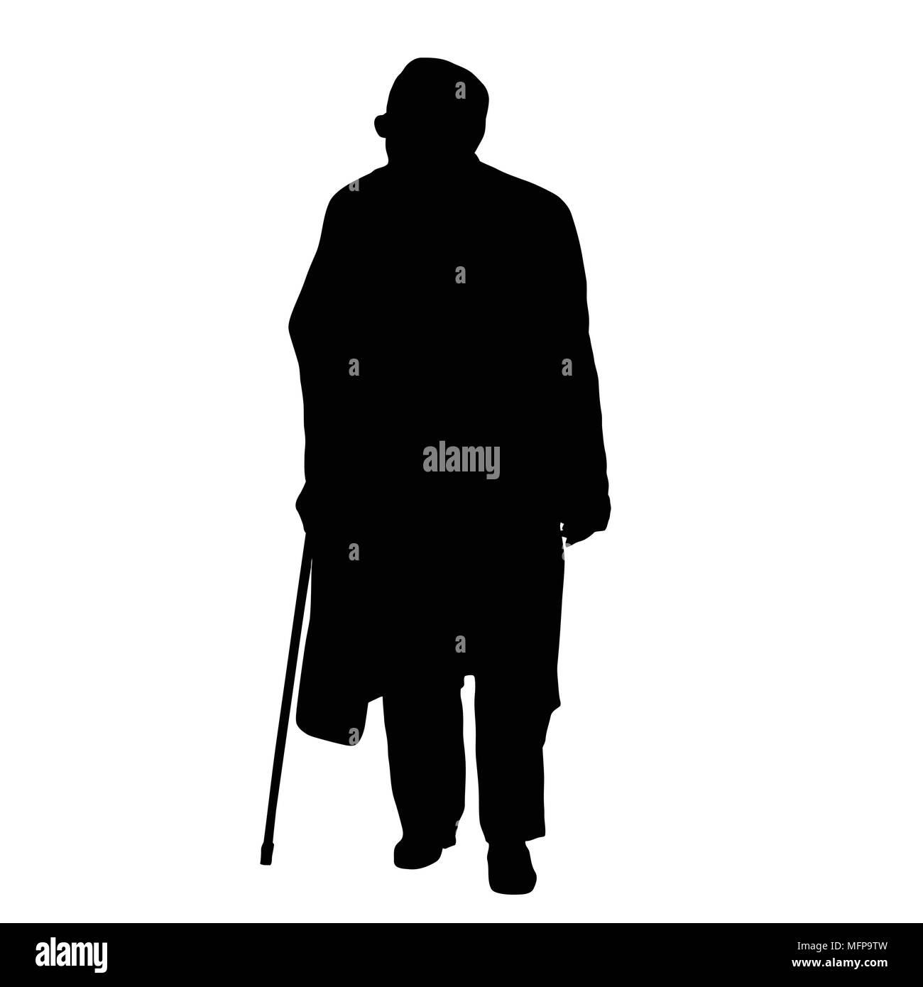 Old man silhouette on white background, vector illustration Stock Vector