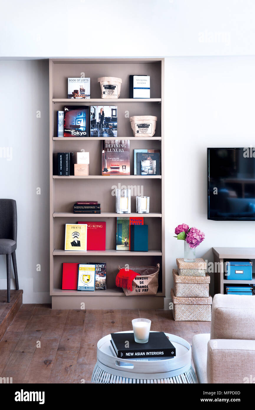 Bookcase Display Unit In Living Room Hong Kong Stock Photo