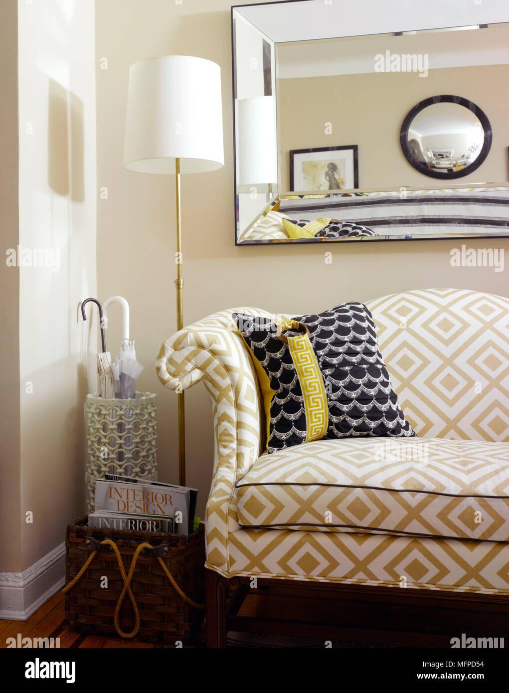 Floor lamp next to sofa in corner of living room new york usa floor lamp next to sofa in corner of living room new york usa aloadofball Images