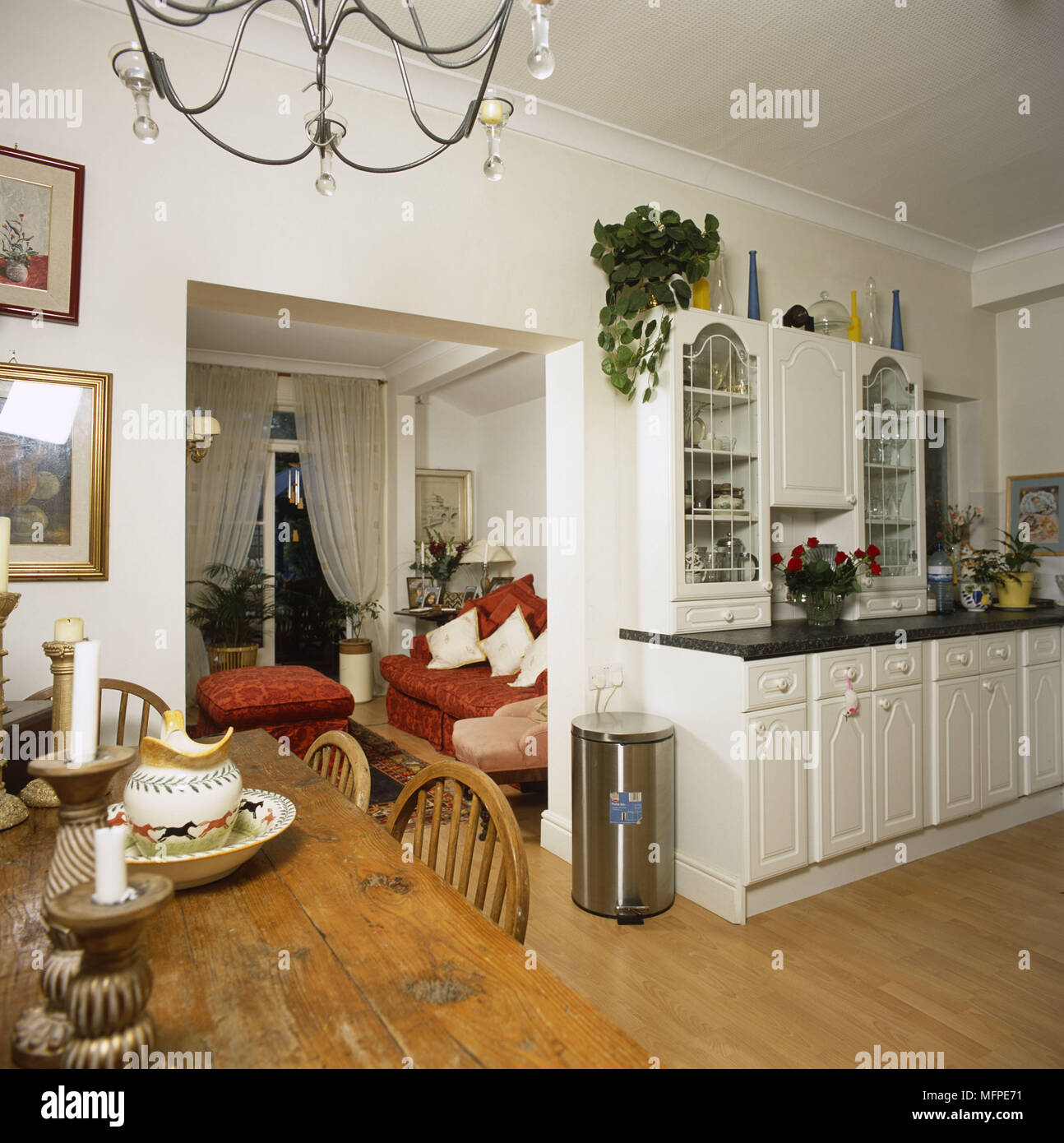 Fabulous A Country Style White Kitchen With Dining Area Wooden Dining Creativecarmelina Interior Chair Design Creativecarmelinacom