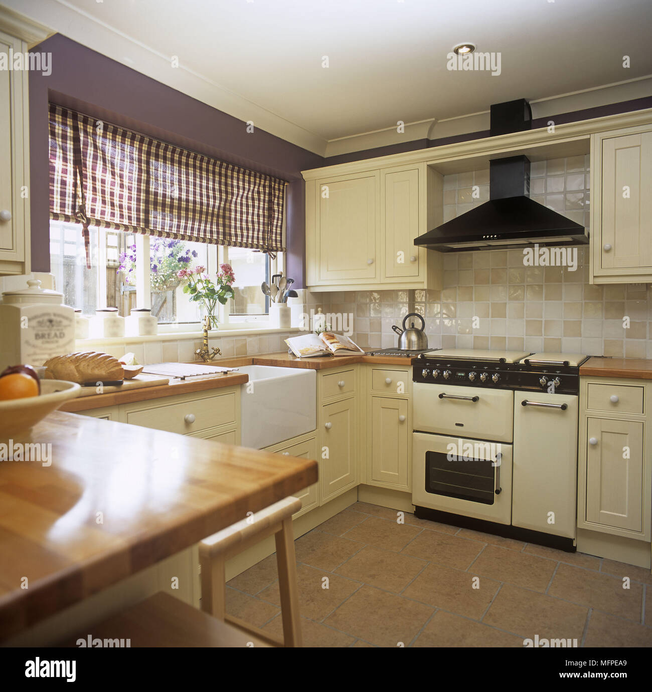 Country Kitchen Range: An Overview Of A Traditional Country Kitchen Range Oven Belfast Sink Stock Photo: 181817729