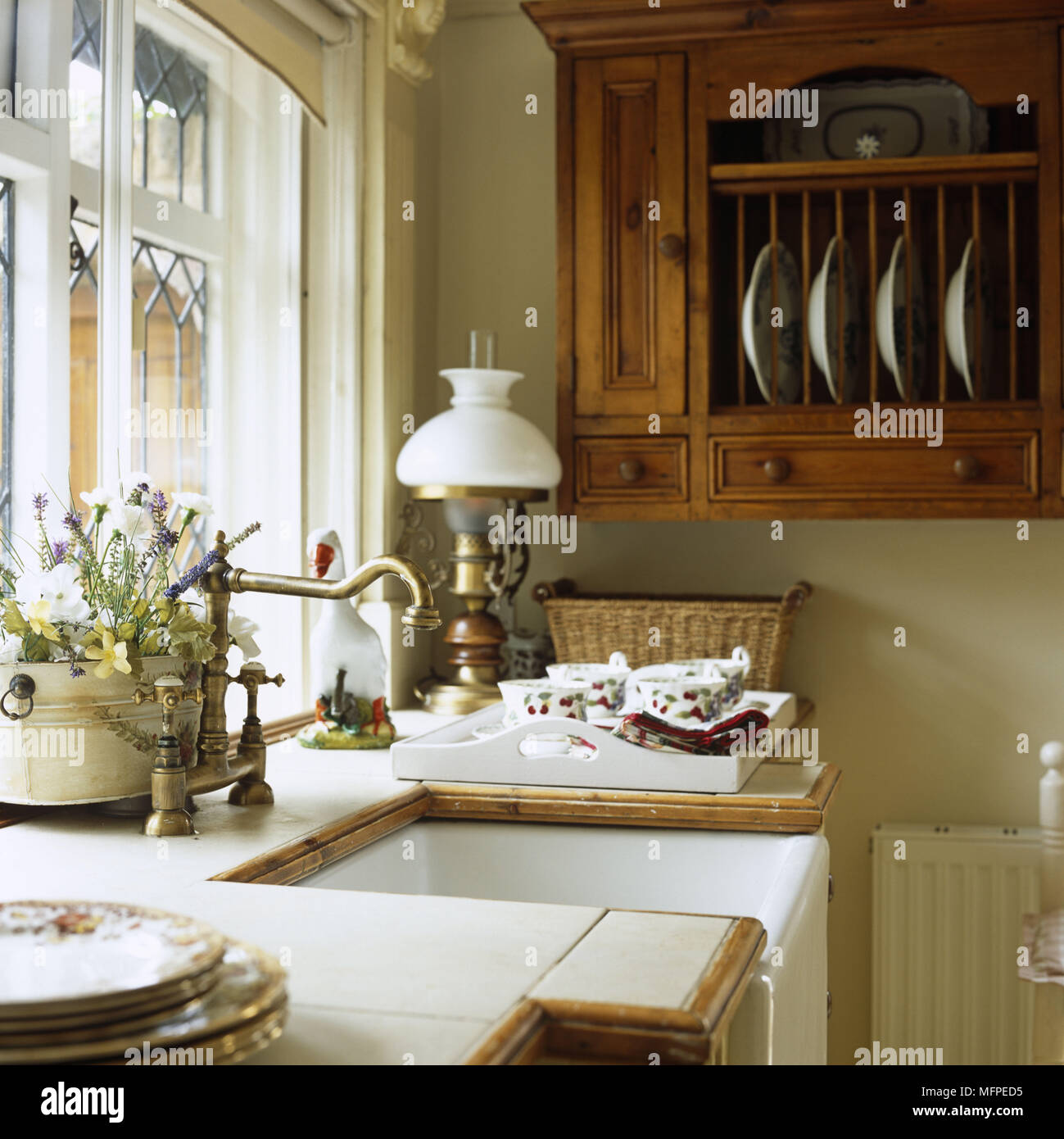 Detail of a traditional Victorian style kitchen sink with a large ...