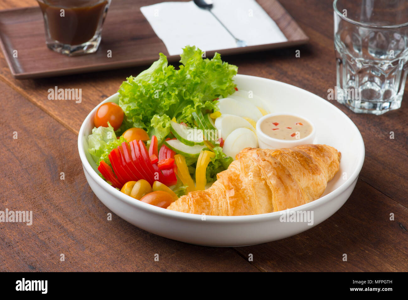croissand and salad Stock Photo
