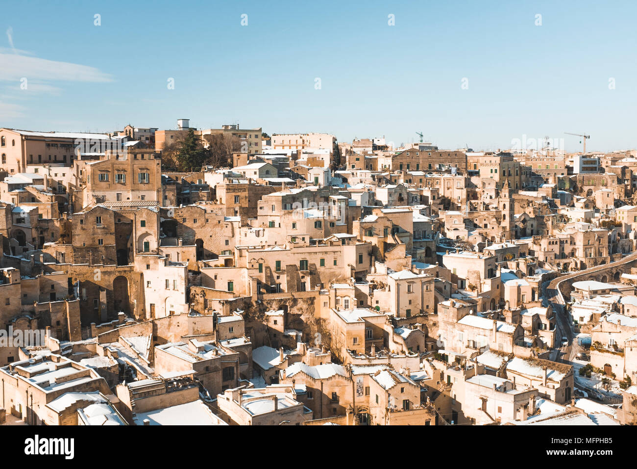 Ancient town of Matera in winter, Puglia, Italy - Stock Image