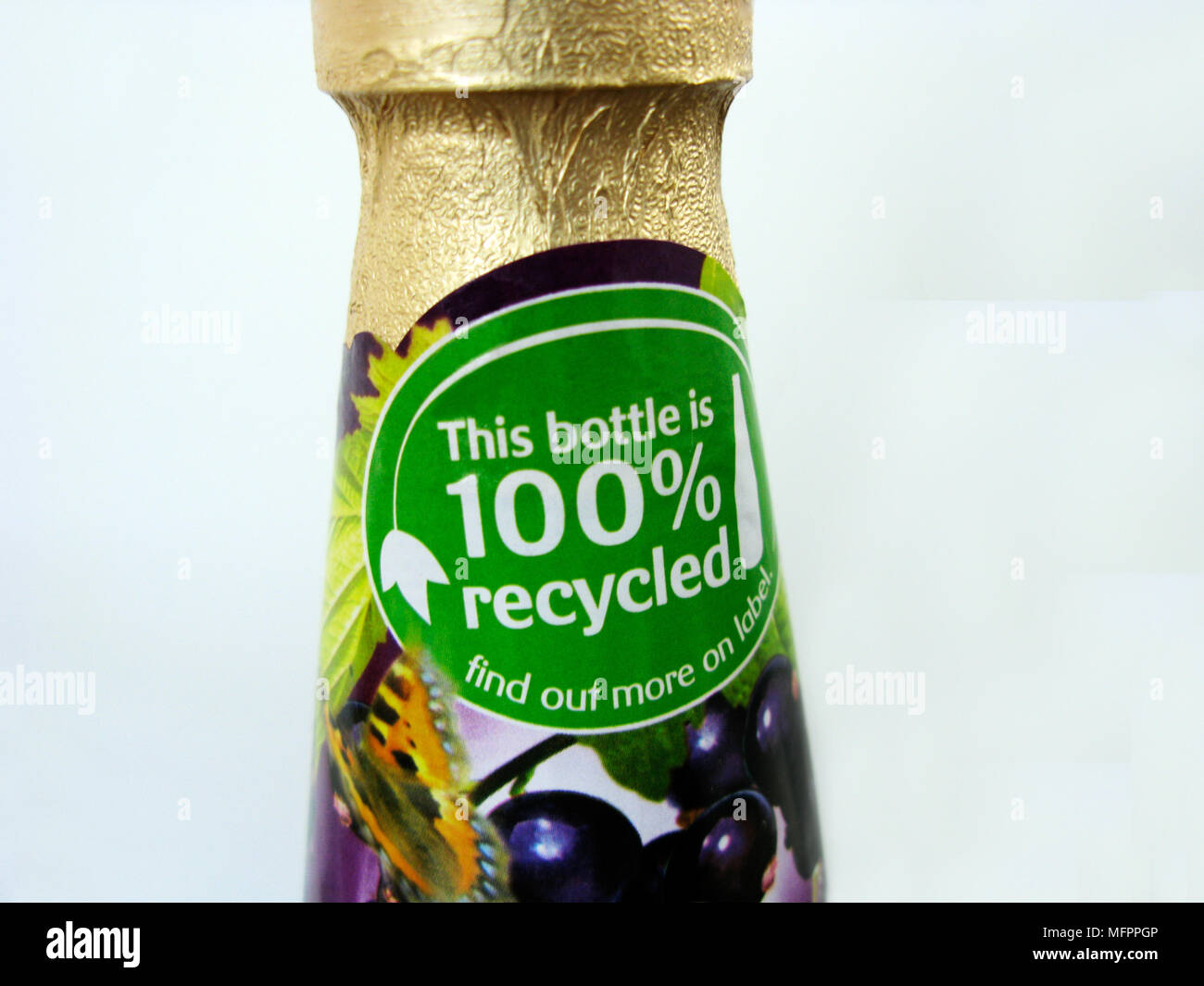 Plastic bottle of juice made from 100% recycled materials - Stock Image