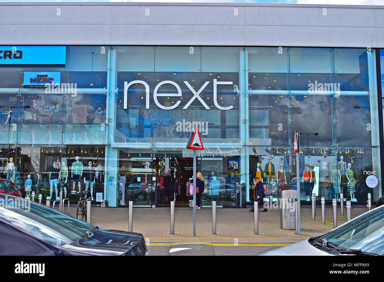 Next is a modern and trendy retail clothing store in the out of town area known as Capital Retail Park, Cardiff, South Wales - Stock Image