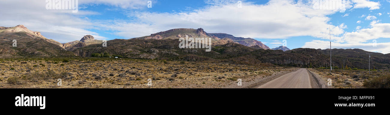 The famed Carretera Austral ( Southern Way), route 7, in Patagonia, Chile. A panorama of the Andes mountain range and landscape as seen from the highw - Stock Image