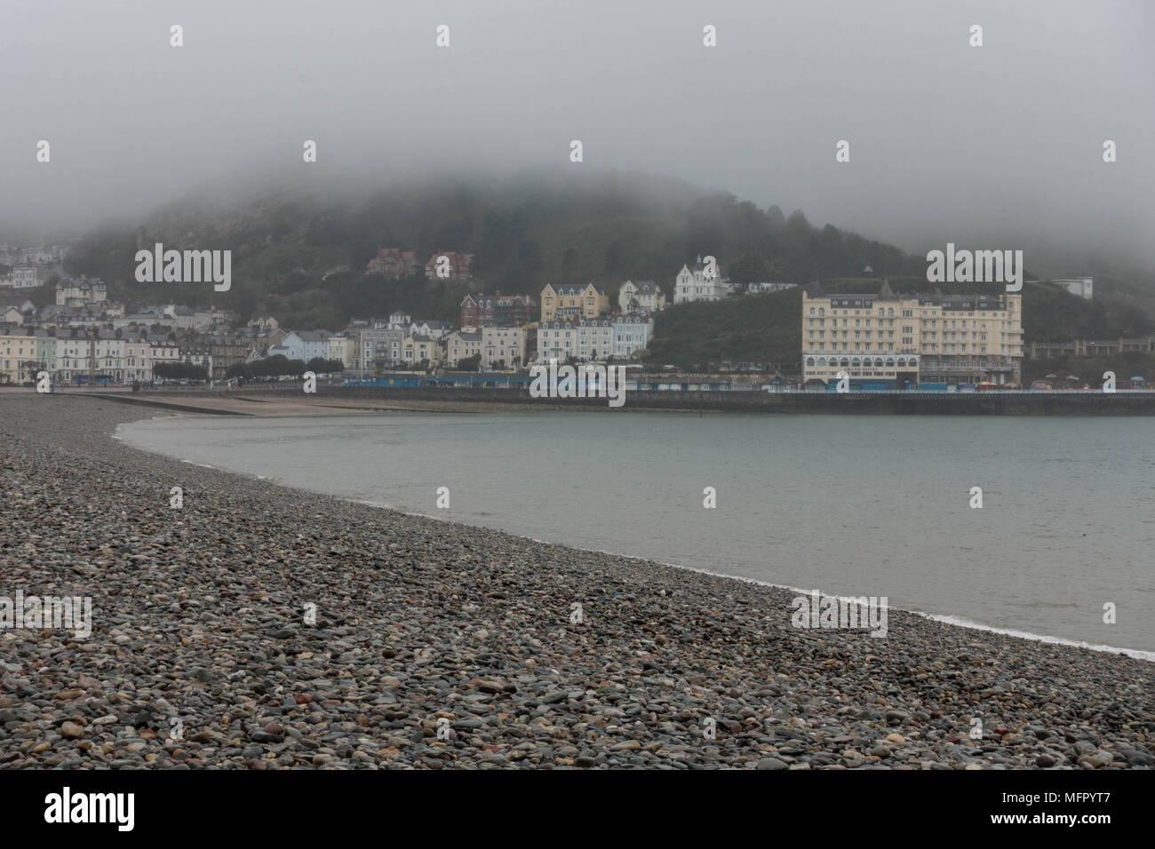 LLandudno seafront on a rainy April Day 2018 - Stock Image