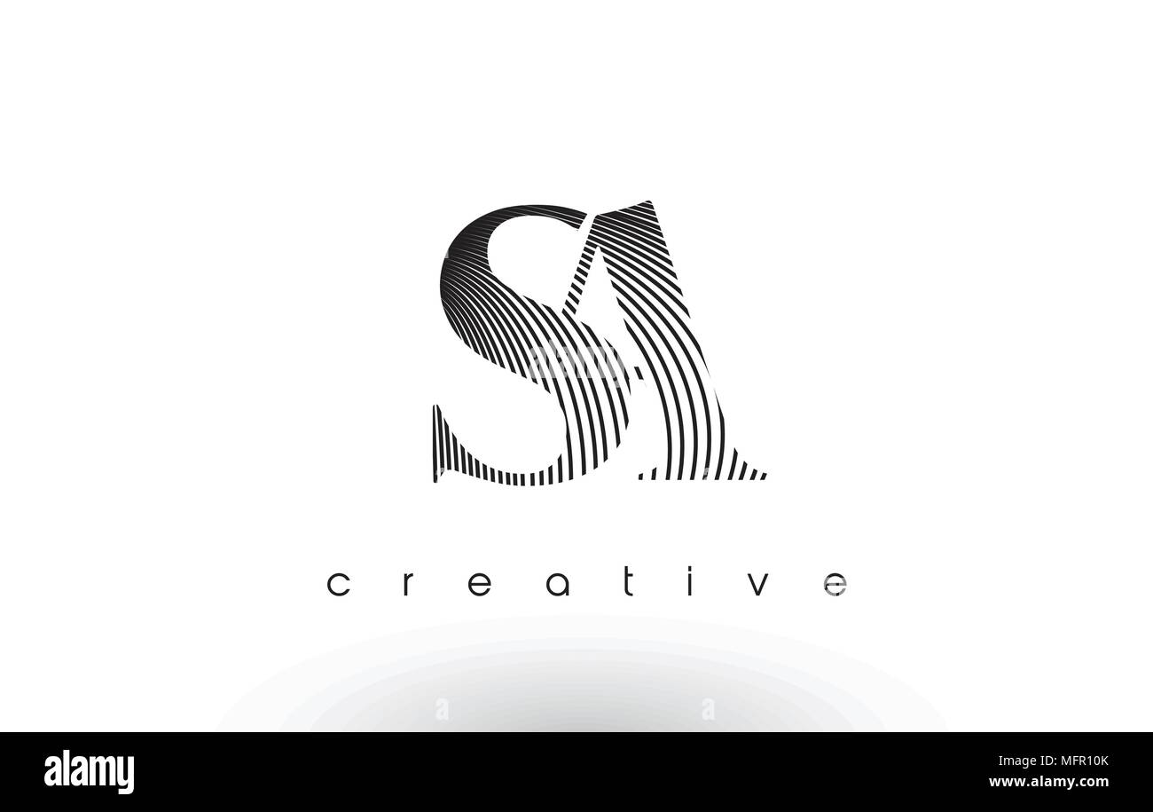 SA Logo Design With Multiple Lines. Artistic Elegant Black and White Lines Icon Vector Illustration. - Stock Vector
