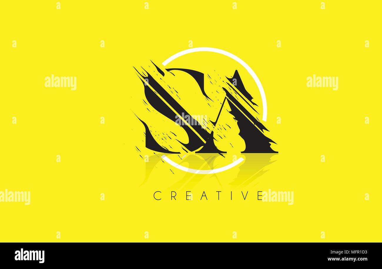SA Letter Logo with Vintage Grundge Cut Design. Destroyed Drawing Elegant Letter Icon Vector. - Stock Vector