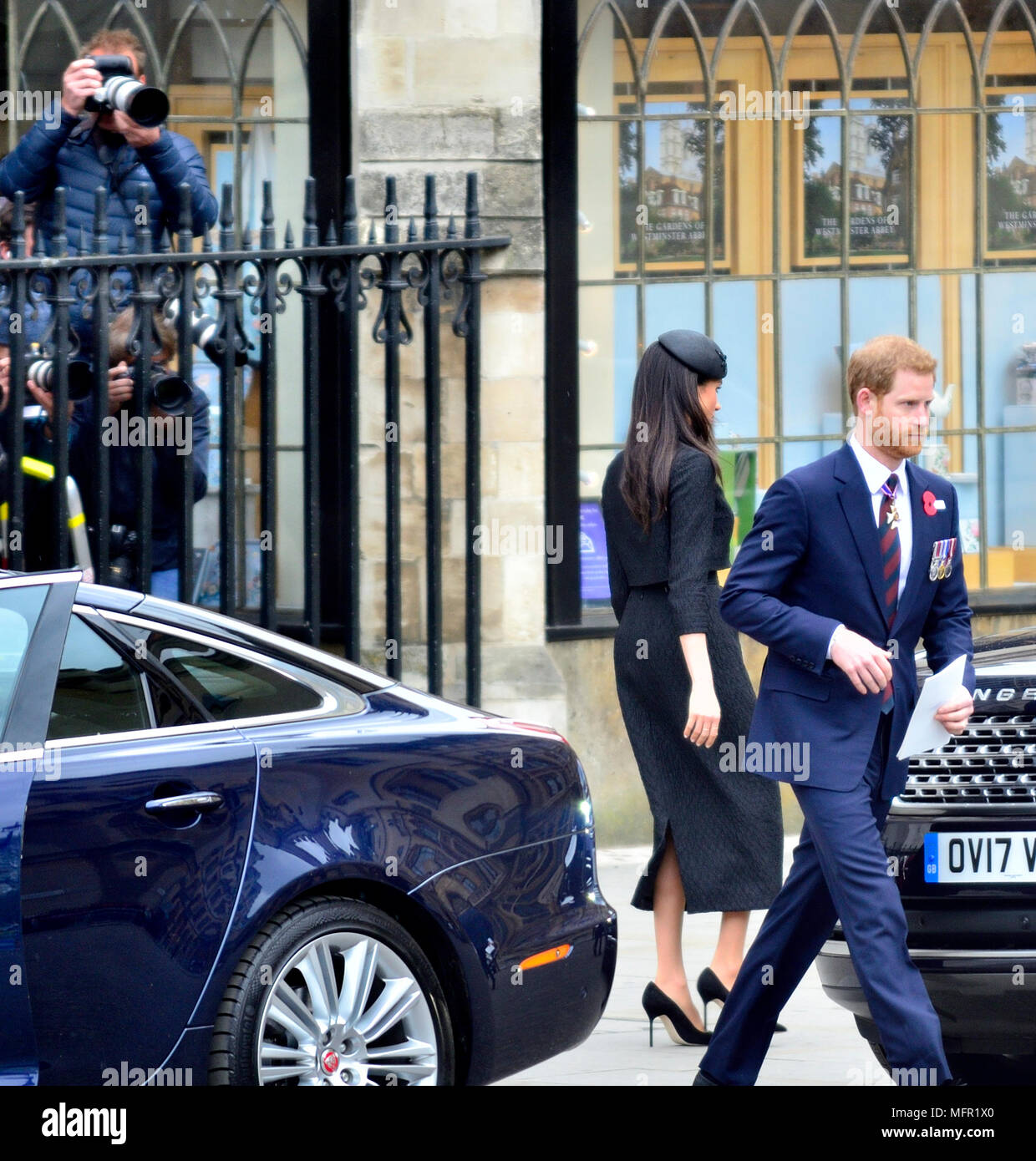 Anzac Day 2018 Service of Commemoration at Westminster Abbey.  Prince Harry and Meghan Markle leave after the service Stock Photo
