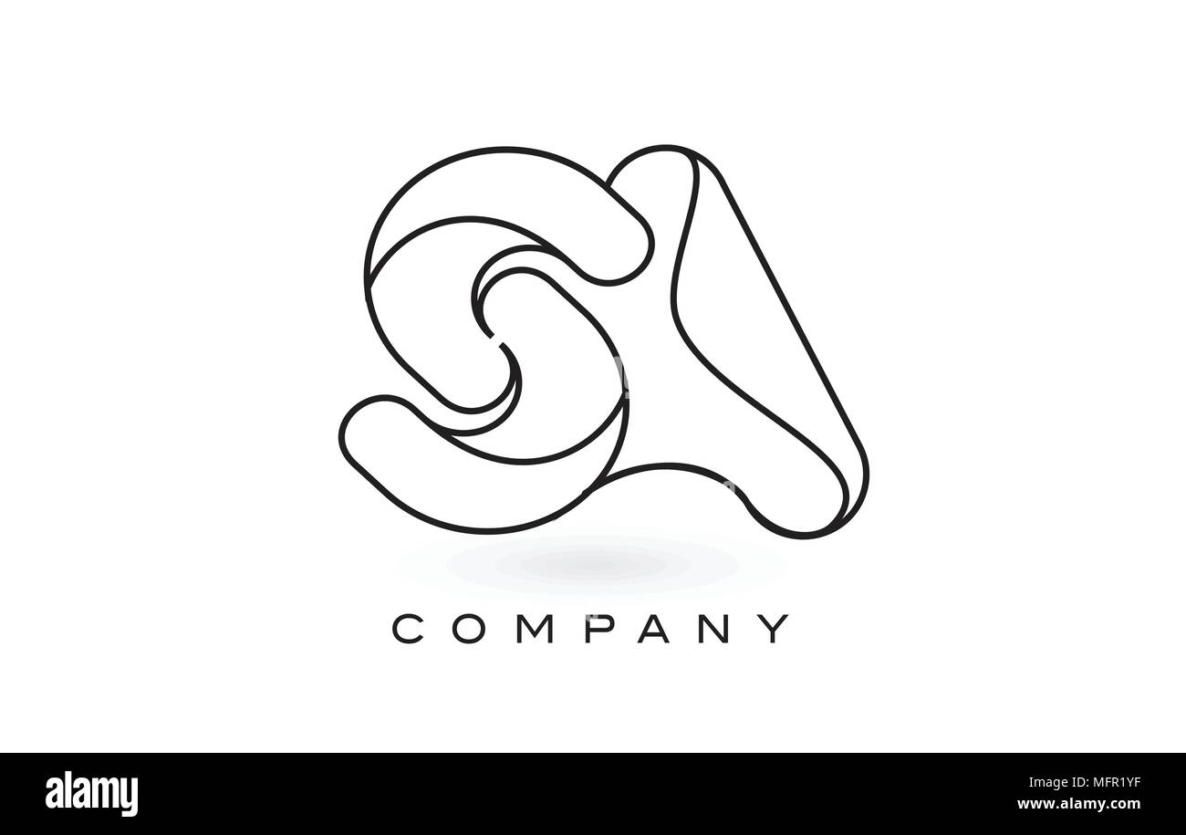 SA Monogram Letter Logo With Thin Black Monogram Outline Contour. Modern Trendy Letter Design Vector Illustration. Stock Vector