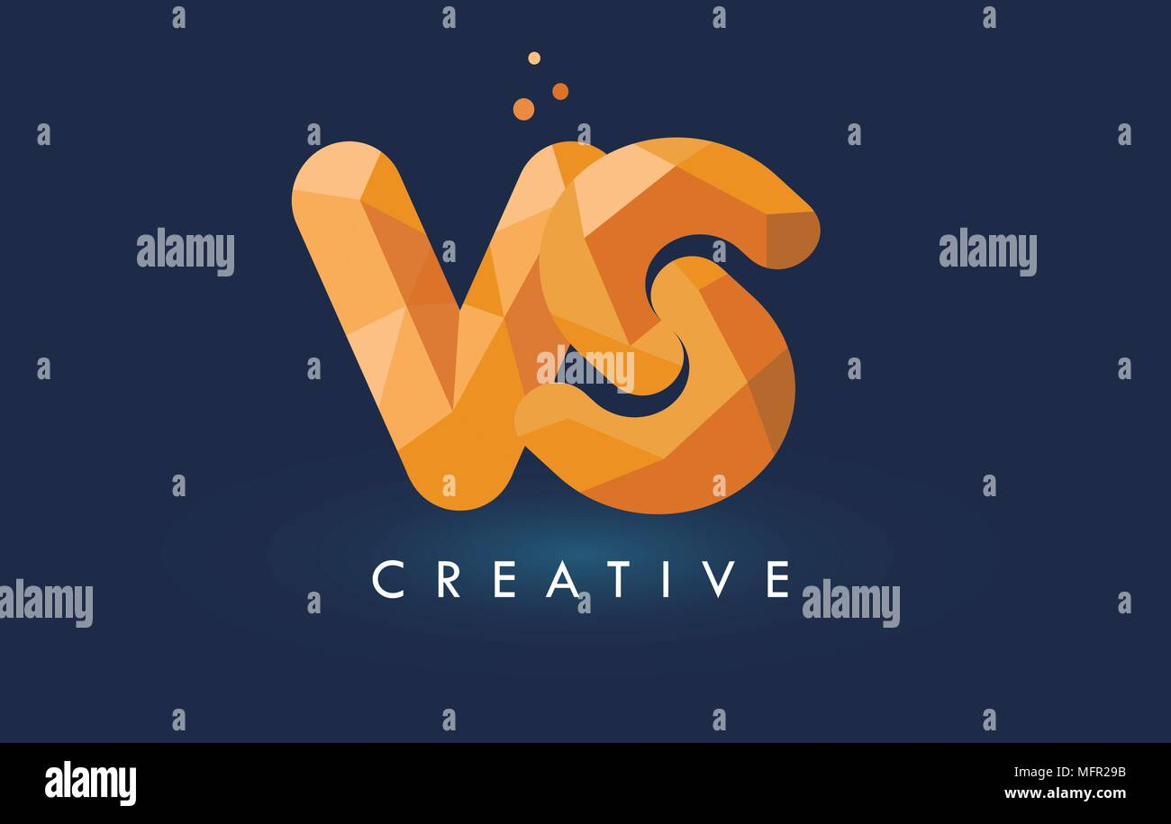 VS Letter With Origami Triangles Logo. Creative Yellow Orange Origami Design Letters. - Stock Vector