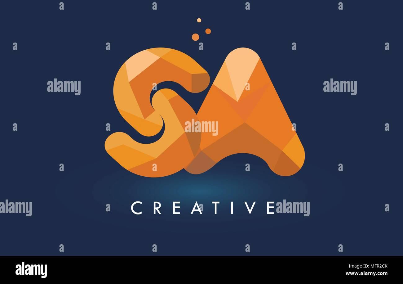 SA Letter With Origami Triangles Logo. Creative Yellow Orange Origami Design Letters. - Stock Vector