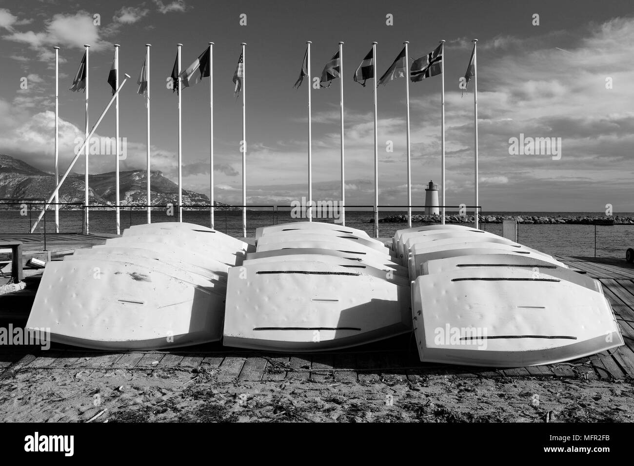 Equipment of a sailing school on Corsica Island, France. - Stock Image