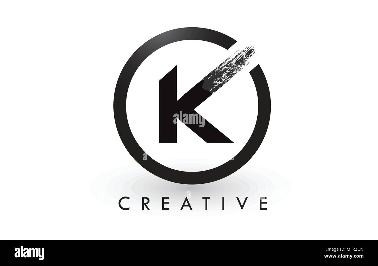 K Brush Letter Logo Design With Black Circle Creative