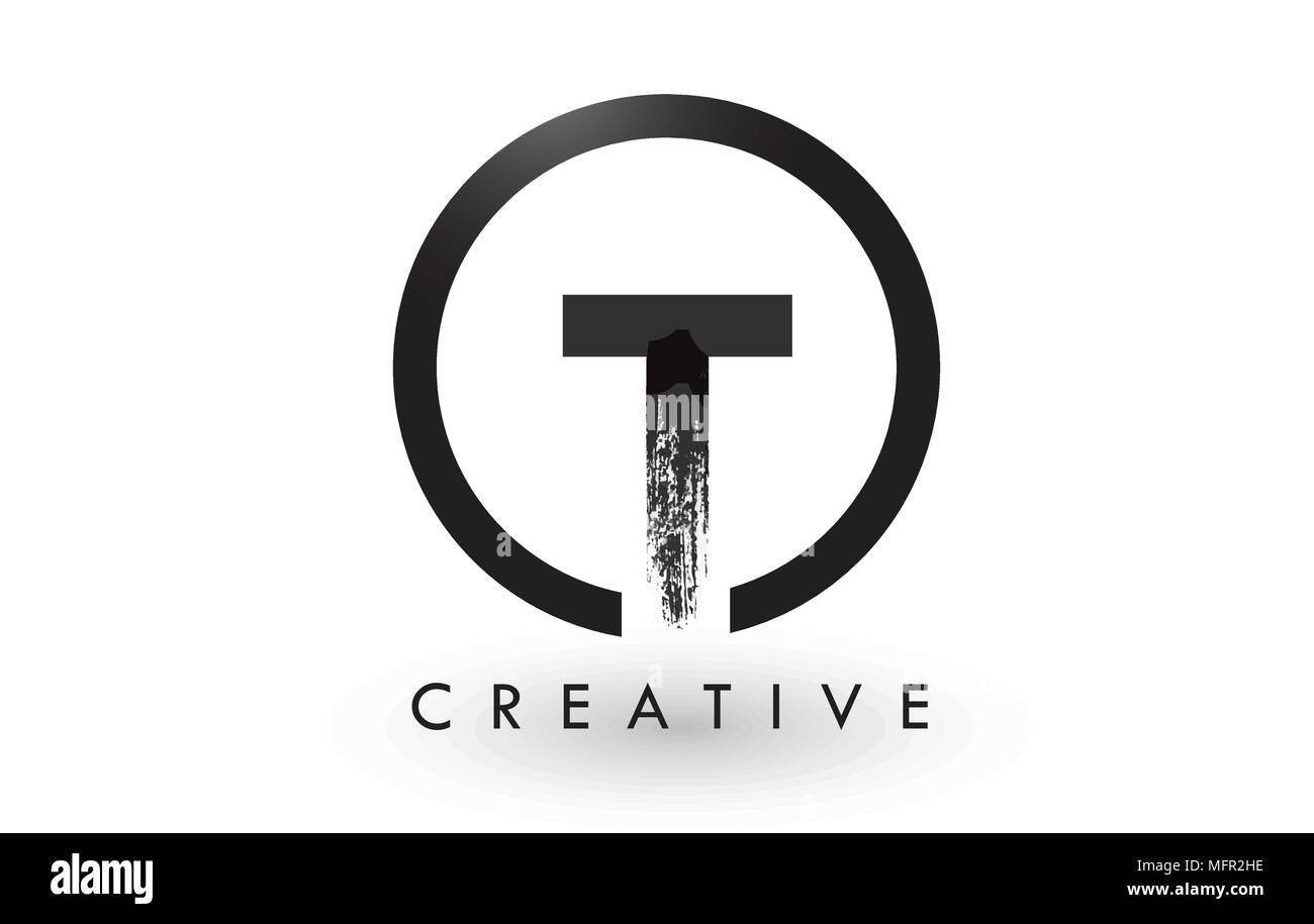 t brush letter logo design with black circle creative brushed letters icon logo