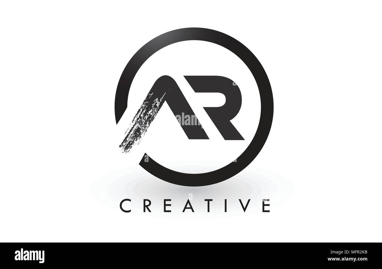 ar brush letter logo design with black circle creative brushed